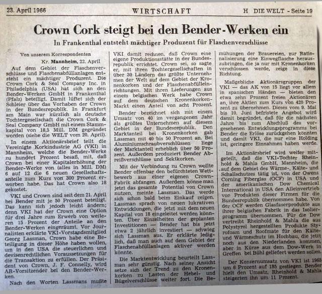 """Zeitungsausschnitt: """"Crown Cork steigt bei den Bender-Werken ein"""""""